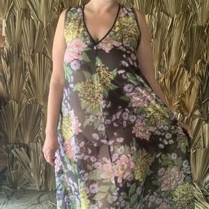 Vintage 70's Sheer Floral Maxi Dress One Size